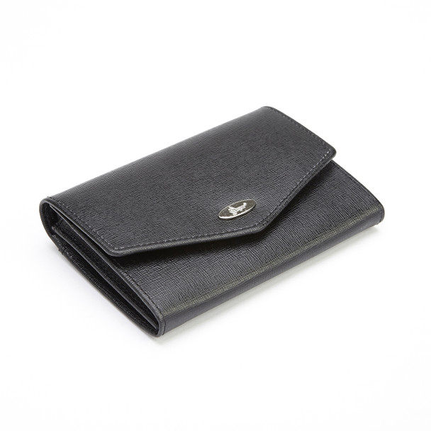 ROYCE RFID Blocking Luxury French Purse Wallet in Saffiano Genuine Leather~RFID-167-BLK-2