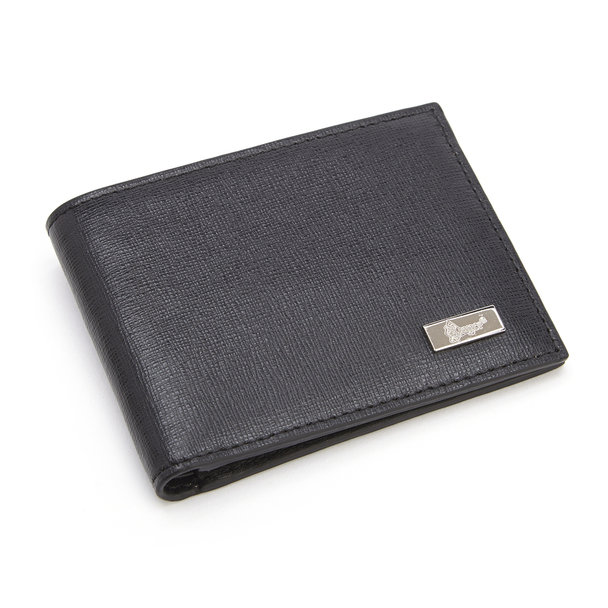 ROYCE RFID Blocking Men's Bifold Credit Card Wallet in Genuine Saffiano Leather~RFID-128-BLK-2