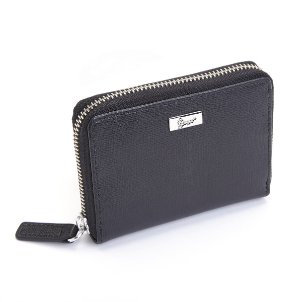 ROYCE RFID Blocking Mini Fan Wallet in Genuine Saffiano Leather~RFID-168-BLK-2