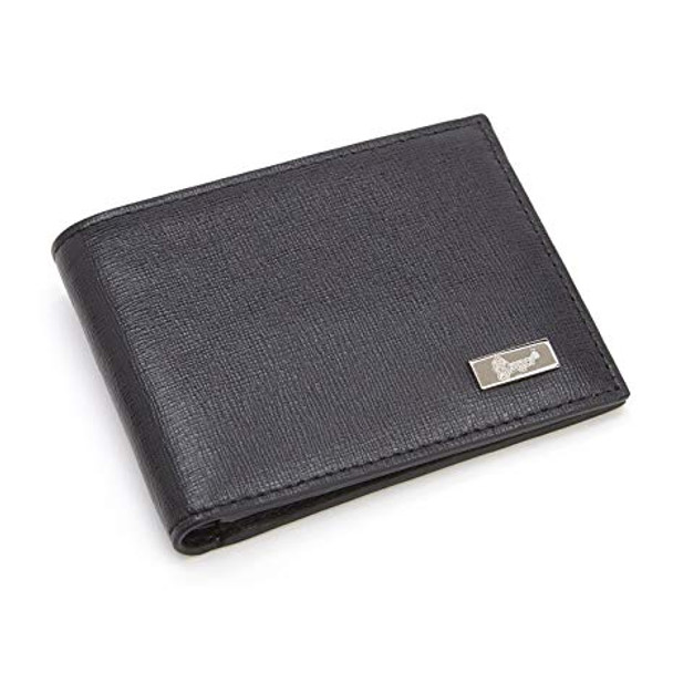 ROYCE RFID Blocking Money Clip Credit Card Wallet in Genuine Saffiano Leather~RFID-127-BLK-2