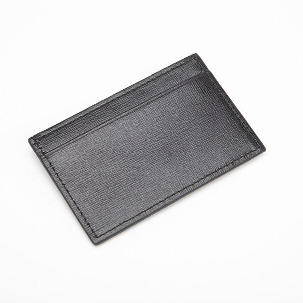 ROYCE RFID Blocking Slim Credit Card Wallet in Genuine Saffiano Leather~RFID-413-BLK-2