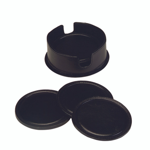 ROYCE Set of 6 Genuine Leather Round Coasters within Genuine Leather Case~336-BLACK-6