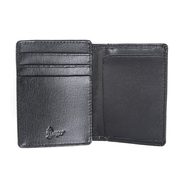 ROYCE Slim Money Clip Credit Card Wallet in Genuine Saffiano Leather~122-BLK-2