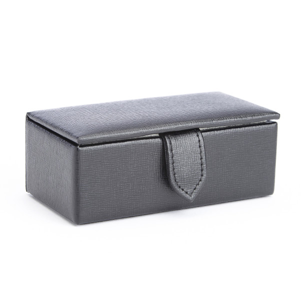 ROYCE Suede Lined Travel Cufflink Storage Box in Saffiano Genuine Leather - Fits 2 Pairs~945-BLACK-2