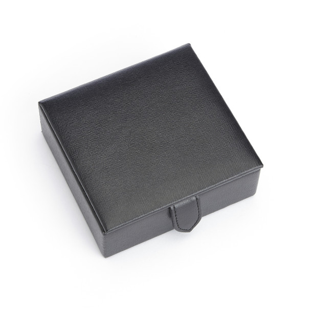 ROYCE Suede Lined Travel Cufflink Storage Box in Saffiano Genuine Leather - Fits 4 Pairs~946-BLACK-2