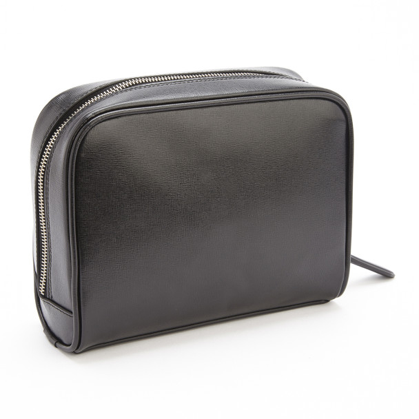 ROYCE Toiletry Travel Grooming Wash Bag in Genuine Saffiano Leather~230-BLACK-2