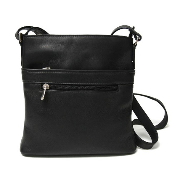 ROYCE Triple Zip Crossbody Bag in Colombian Genuine Leather~VL3ZIPCB-BLK