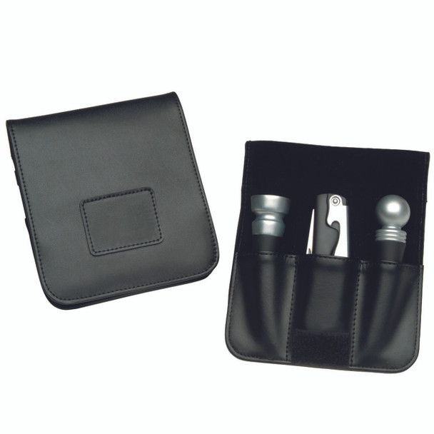 ROYCE Wine Accessory Case in Genuine Leather with Corkscrew and Wine Stoppers~619-BLACK-6