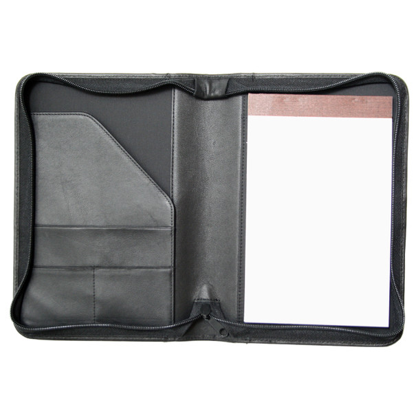 ROYCE Zippered Compact Writing Portfolio Organizer in Genuine Leather~742-BLACK-5