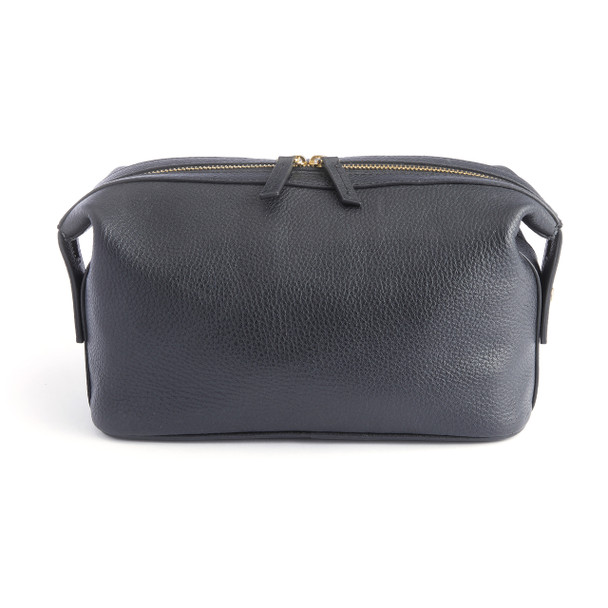 Toiletry Bag in Pebbled Leather~267-BLACK-4