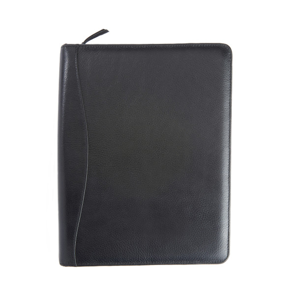 Zippered Tech Case Organizer in Pebbled Leather~907-BLACK-4