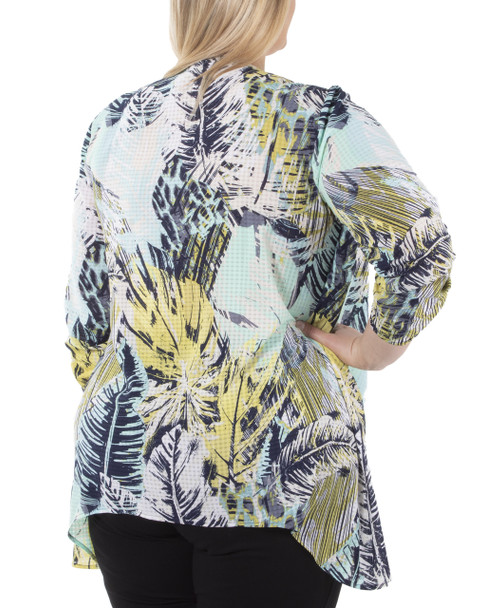 Plus Size 3/4 Sleeve Sharkbite Hem Twofer Top with Necklace~Aqua Leafetchduo*WPOF0057