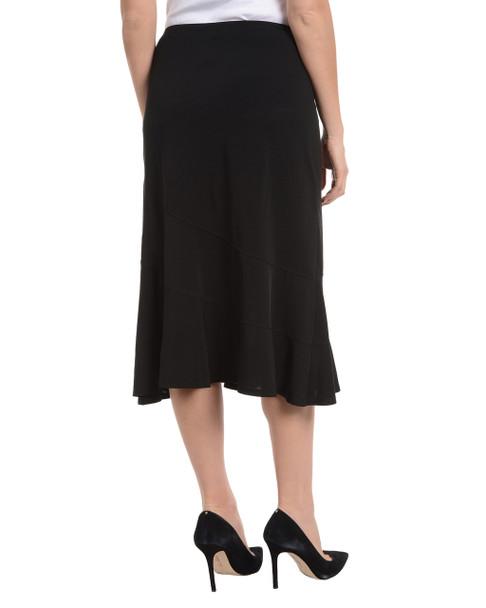 Diagonal Seam Elastic Waist Skirt~Black*MITK0803