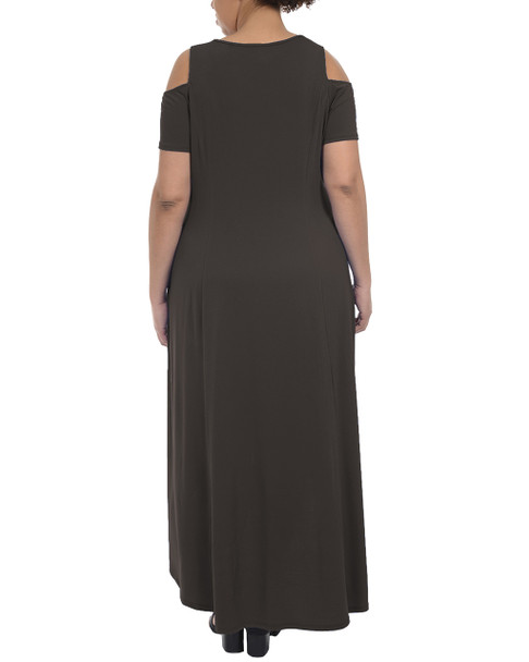 Plus Size Cold Shoulder High-Low Maxi Dress~Black*WITD3467