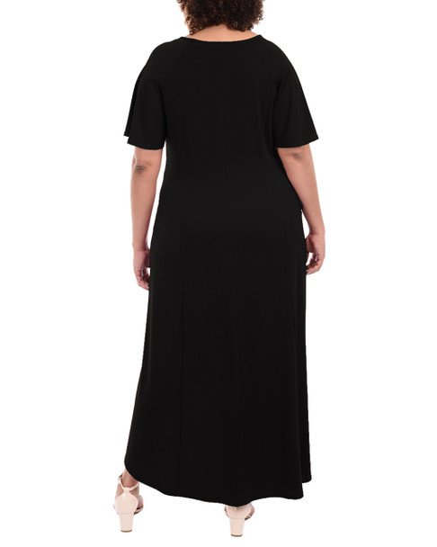 Plus Size Flutter Sleeve Hardware Trim Maxi Dress~Black*WITD3600
