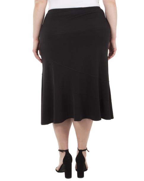 Plus Size Elastic Waist Solid Diagonal Seam Skirt~Black*WITK0880