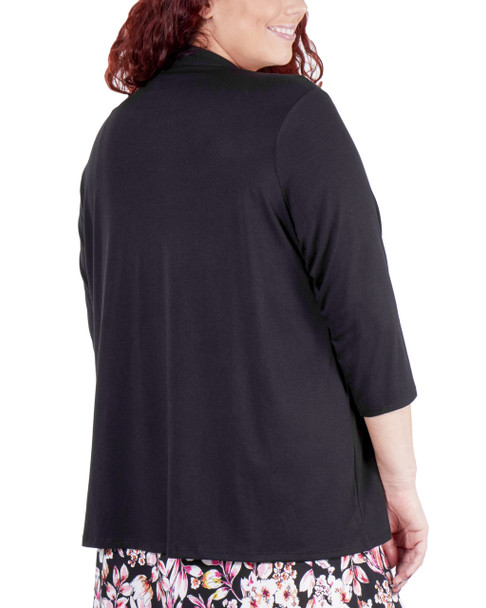 Plus Size 3/4 Sleeve Solid Cardigan~Black*WKPR0095