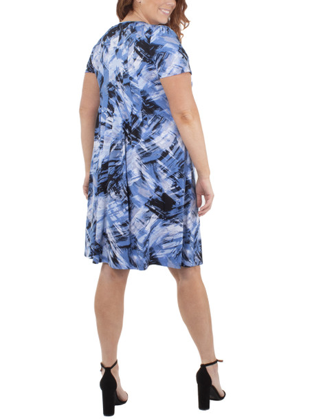 Plus Size Cap Sleeve Allover Pleated Dress~Blue Brushwind*WITD3908