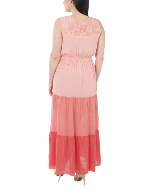 Sleeveless Color Tiered Maxi Dress~Coral Sitalace*MRJD0296