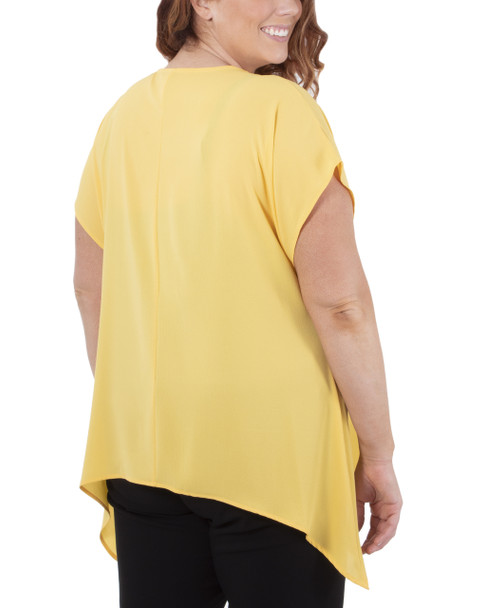 Plus Size Triple Ring Trim Sharkbite Hem Top~Dandelion*WCRU0979