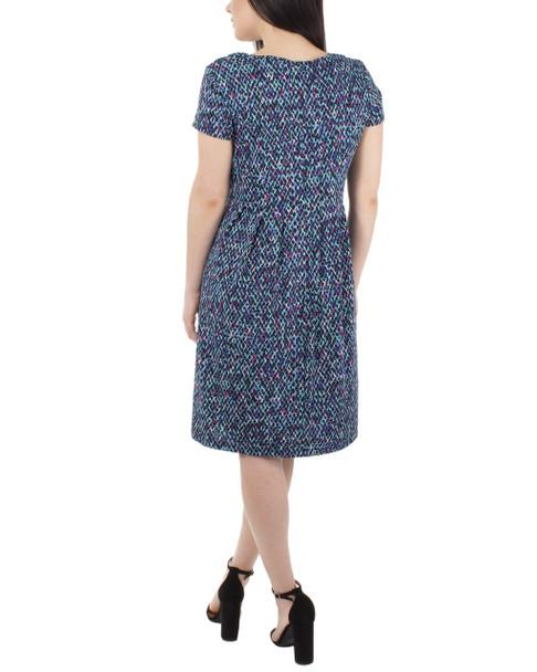 Cap Sleeve Allover Pleated Dress~Jade Paintquad*MITD3908