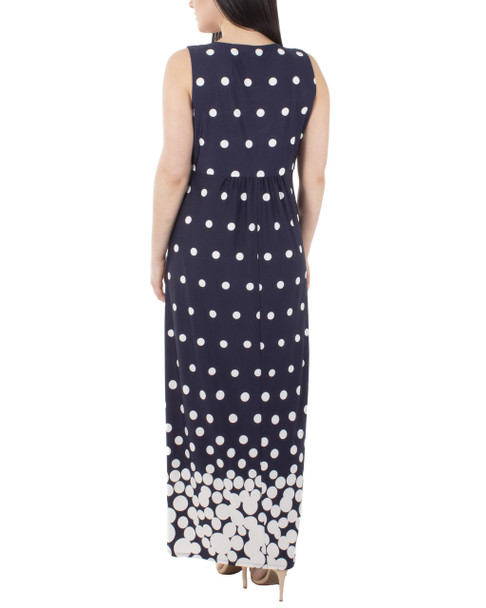 Sleeveless V Neck Maxi Dress~Navy Dotfall*MITD3905