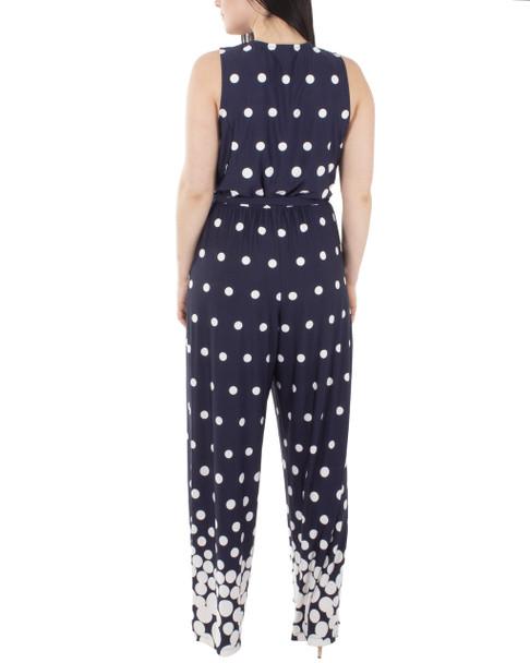 Sleeveless Tie Waist Jumpsuit~Navy Dotfall*MITU7308