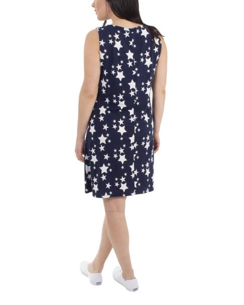 Lattice Front Sleeveless Dress~Navy Stargaze*MRSD0381
