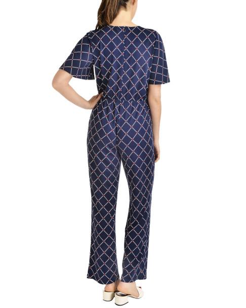 Flutter Sleeve Tie Front Jumpsuit~Navy Zircondot*MITU6075