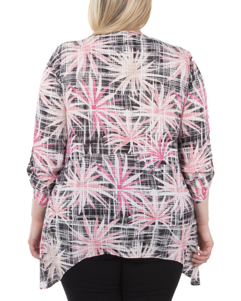 Plus Size 3/4 Sleeve Sharkbite Hem Twofer Top with Necklace~Onyx Palmstarduo*WPOF0057