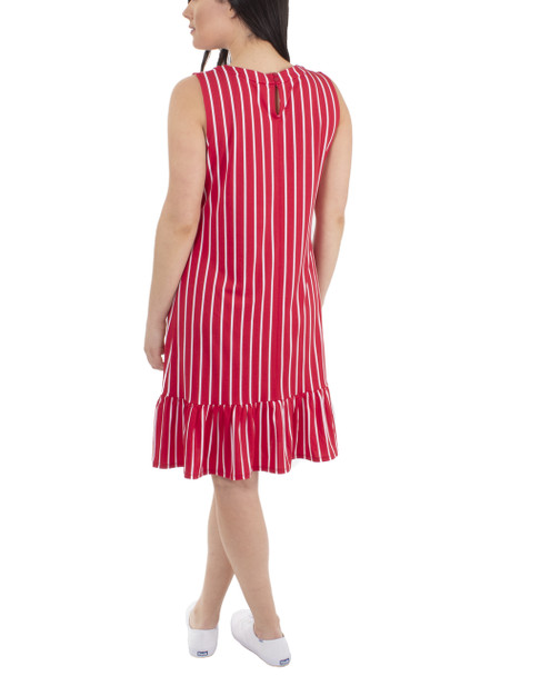 Sleeveless Ruffle Bottom Dress~Red Swisslines*MITD3904