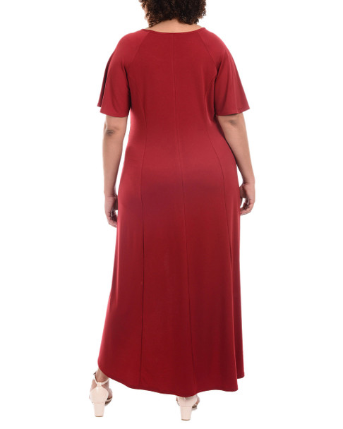 Plus Size Flutter Sleeve Hardware Trim Maxi Dress~Rhubarb*WITD3600