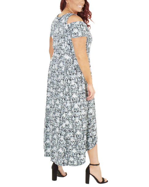 Plus Size Cold Shoulder High-Low Maxi Dress~Turq Hazylis*WITD3466