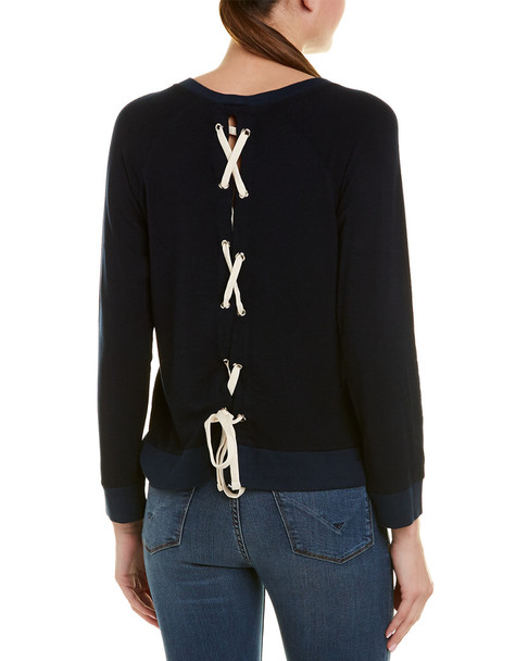 Monrow Lace-Up Back Sweatshirt~1411162800