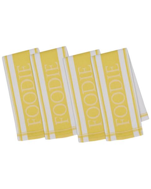 Design Imports Set of 4 Snapdragon Foodie Jacquard Dish Towels~30108185670000