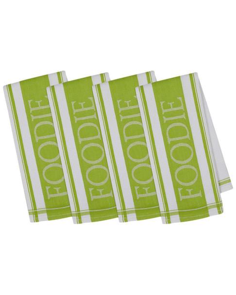 Design Imports Set of 4 Pop Foodie Jacquard Dish Towels~30108185710000