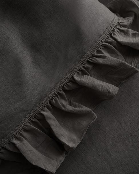 Linen Coterie Tatter Ruffle Washed Linen Duvet~3030769912