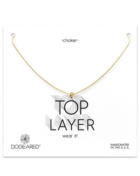 Dogeared 14K Over Silver Crystal Choker Necklace~60301692420000