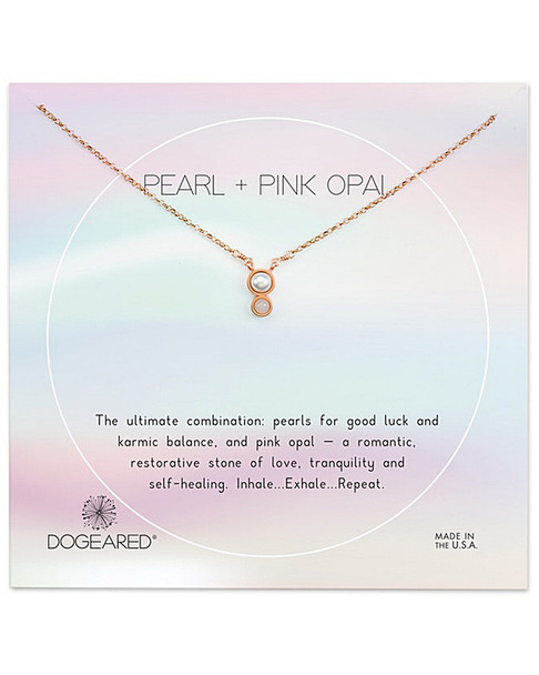 Dogeared 14K Rose Gold Over Silver Pearl & Crystal Necklace~60301692670000