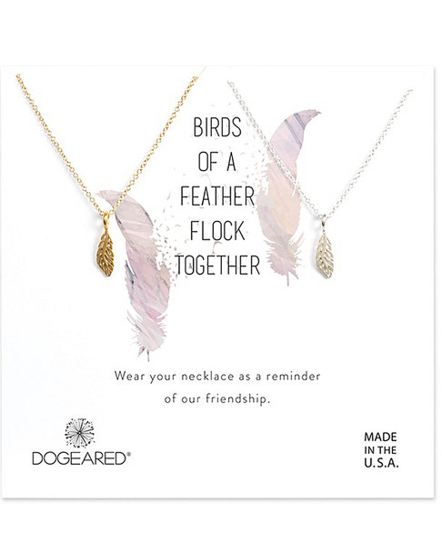 Dogeared 14K Over Silver Feather Necklace Set~60301692730000