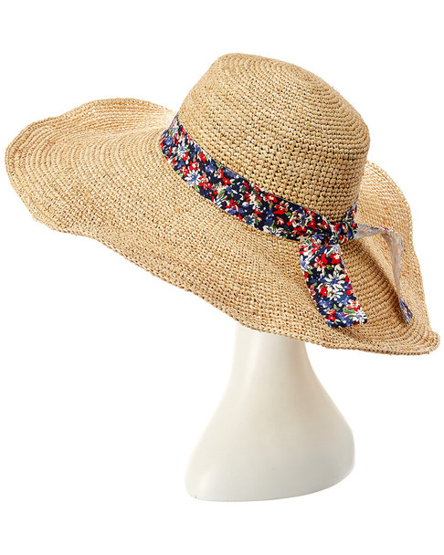 Hat Attack Raffia Crochet XL Brim Flat Crown Sunhat~11711609130000