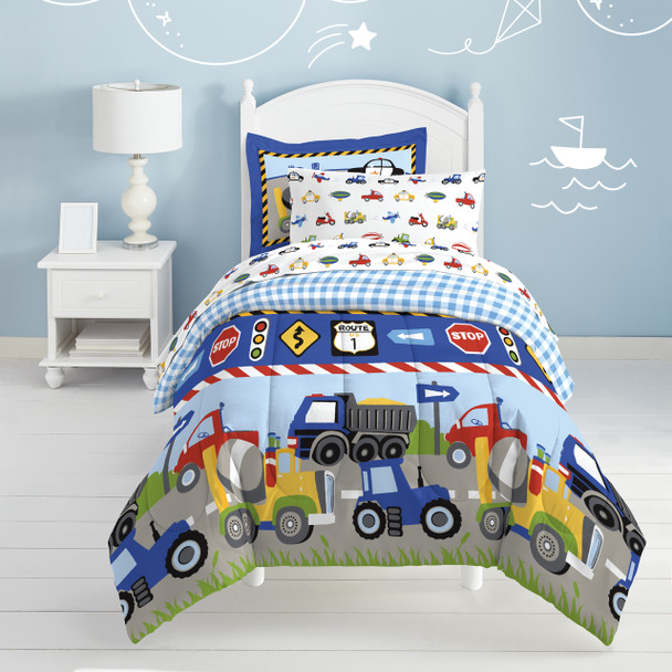 Trains and Trucks Twin Bed-in-a-Bag~2D719901MU