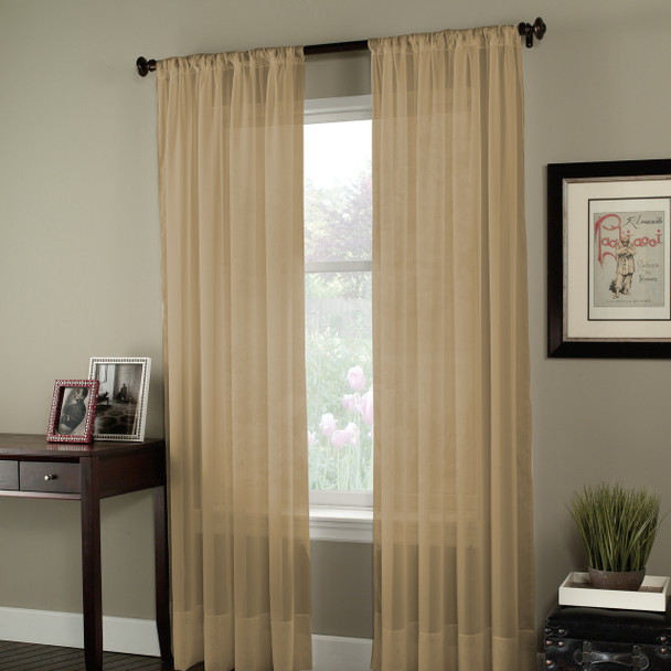 Soho Voile Pole Top Curtain Panel~Antique*1Q80400