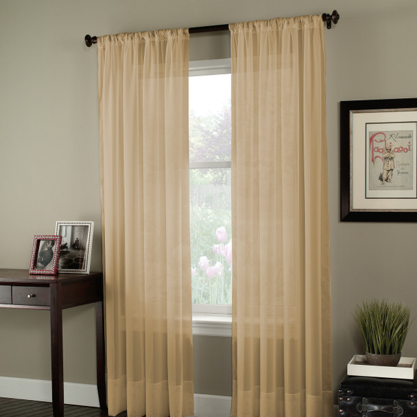 Soho Voile Pole Top Curtain Panel~Honey*1Q80400
