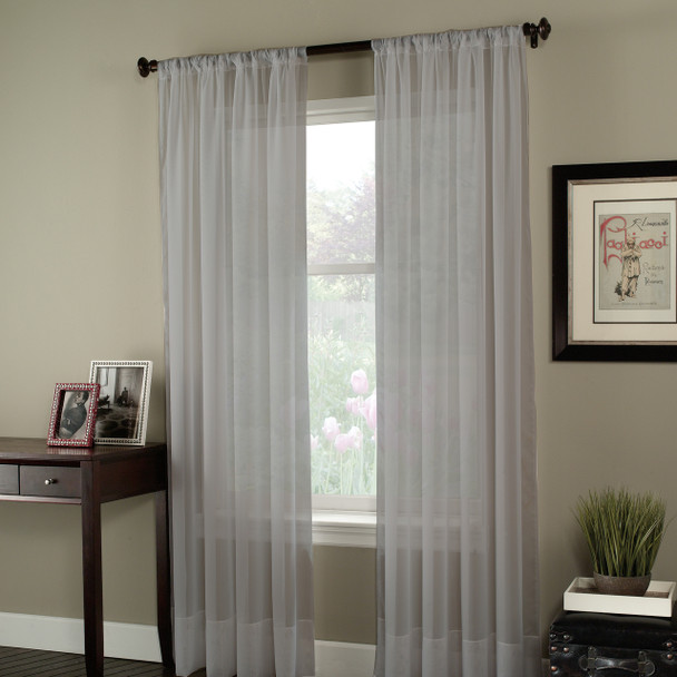 Soho Voile Pole Top Curtain Panel~Silver*1Q80400