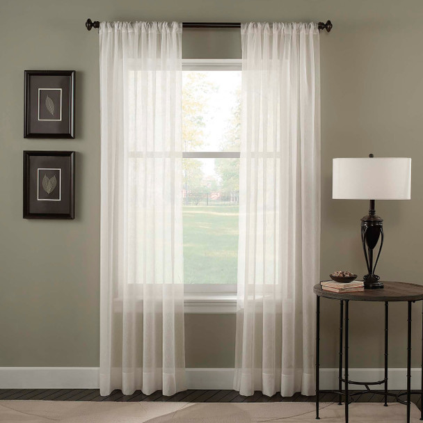 Tierinity Crinkle Voile Pole Top Curtain~Oyster*1Q80410