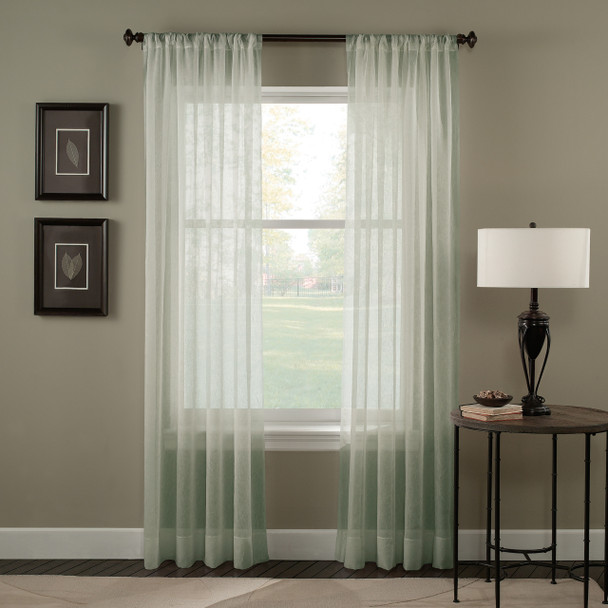 Tierinity Crinkle Voile Pole Top Curtain~Sage*1Q80410