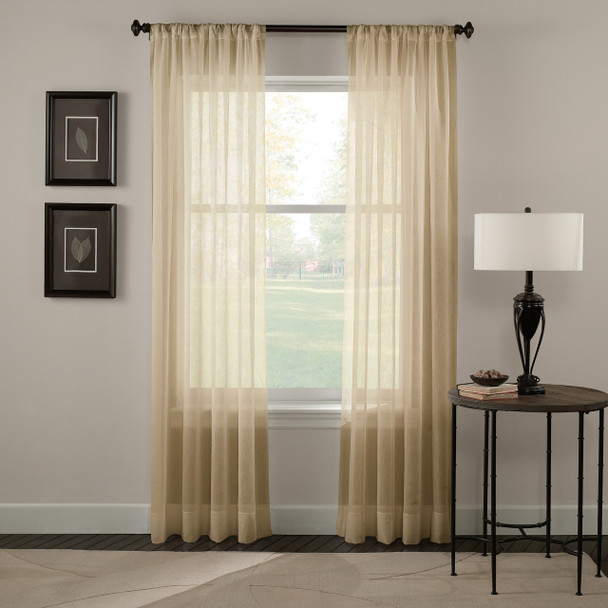 Tierinity Crinkle Voile Pole Top Curtain~Honey*1Q80410