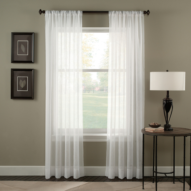 Tierinity Crinkle Voile Pole Top Curtain~Winter White*1Q80410
