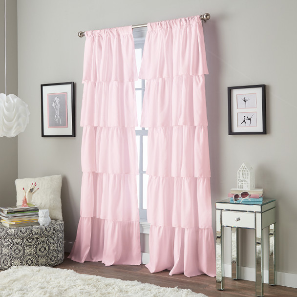 Flounced Pole Top Curtain~Pink*1Q82460